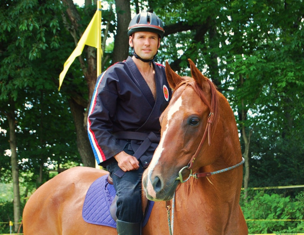 Scott Lesinski and his Dynamite horse, Stuey, at the 4th Annual Little Neshannock Mounted Archery Competition in Pennsylvania