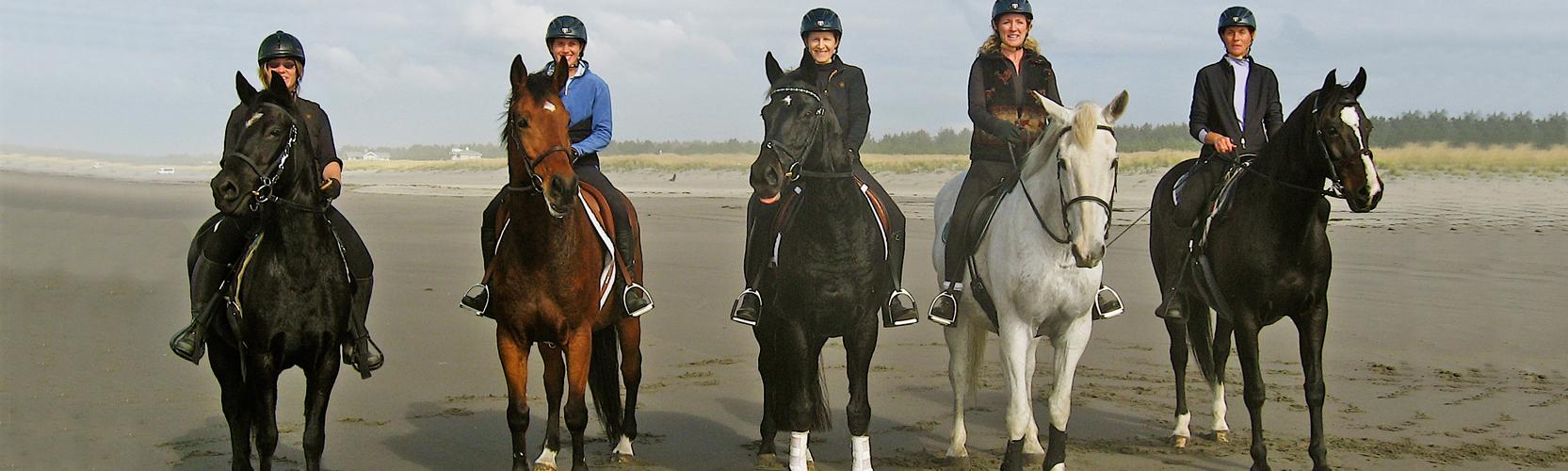 5 women on horses
